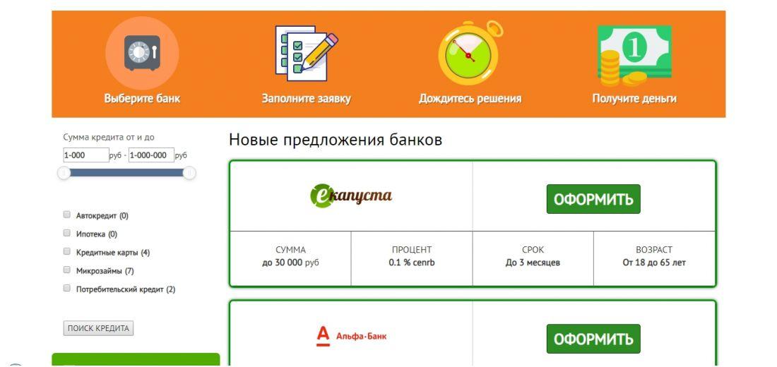Сайт по подбору кредитов и микрозаймов